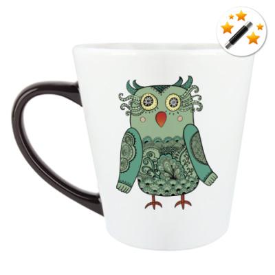 Кружка-хамелеон Зеленая лесная совушка