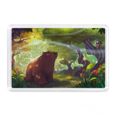 Магнит Мишка в волшебном лесу