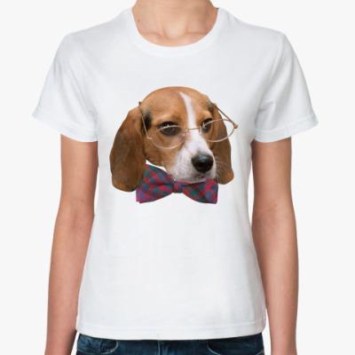 Классическая футболка Собака в очках и бабочке