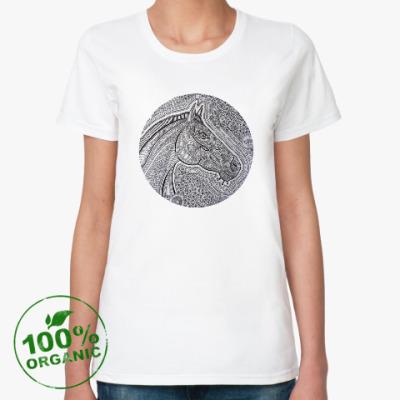 Женская футболка из органик-хлопка Лошадь