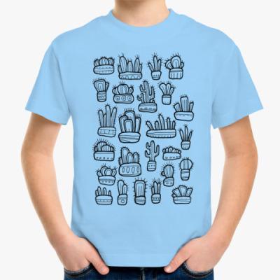 Детская футболка Коллекция смешных кактусов в горшочках