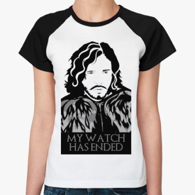 Женская футболка реглан Игра престолов.Джон Сноу