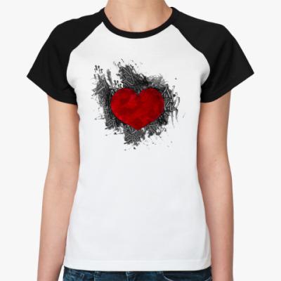 Женская футболка реглан Сердце в краске