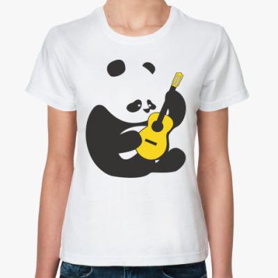 Женская футболка Панда играет на гитаре