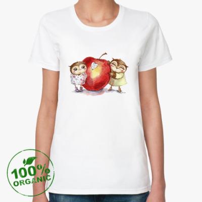 Женская футболка из органик-хлопка Совы с яблочком