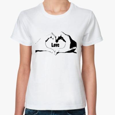 Классическая футболка Hand love