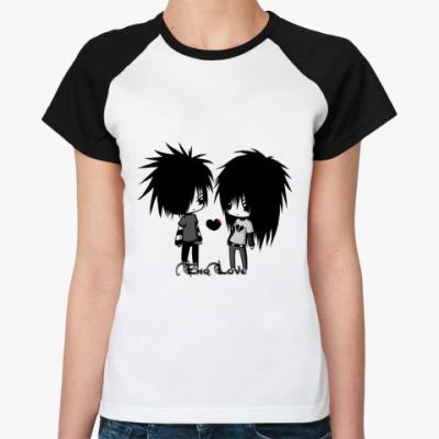 Женская футболка реглан Эмо-Любовь