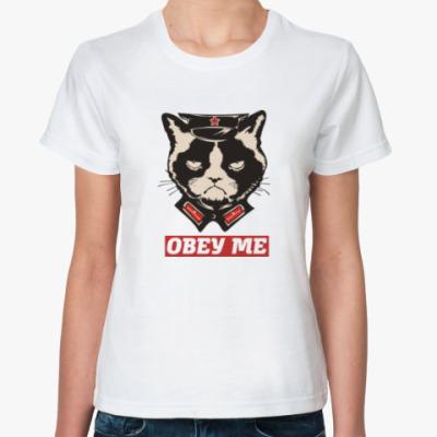 Классическая футболка Obey the kitty
