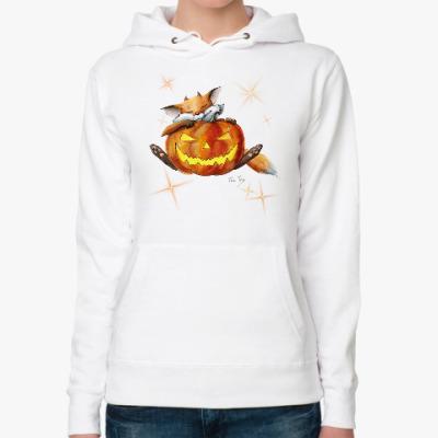 Женская толстовка худи Хэллоуинский лисенок