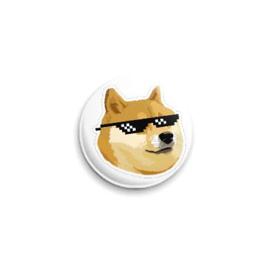 Значок 25мм Doge meme, deal with it очки