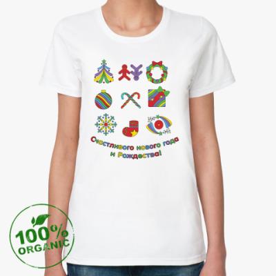 Женская футболка из органик-хлопка  с новым годом