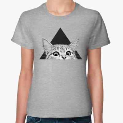 Женская футболка Кот в треугольнике