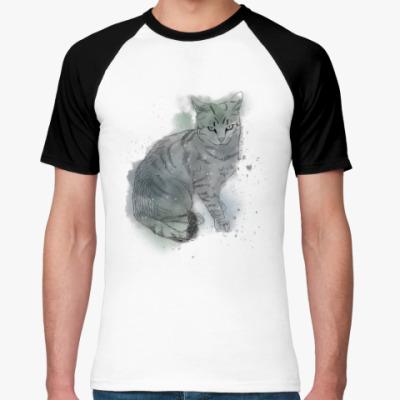 Футболка реглан Серый сердитый кот