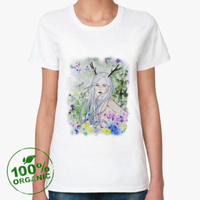 Женская футболка из органик-хлопка Лесная фея, эльф