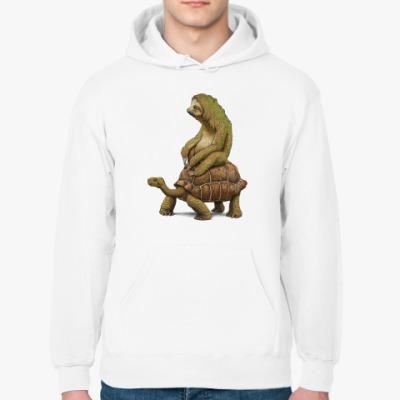 Толстовка худи Ленивец на черепахе
