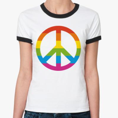 Женская футболка Ringer-T  Радужный пацифик