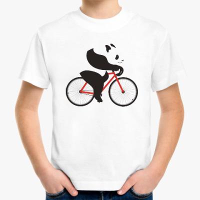 Детская футболка Медведь панда на велосипеде