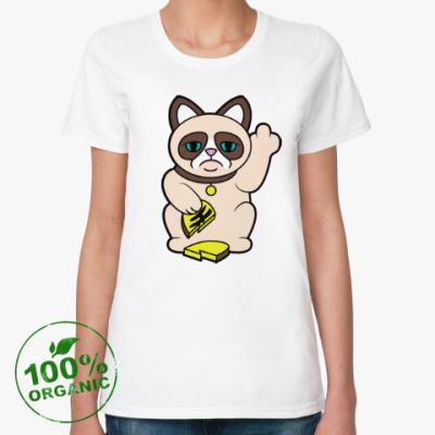 Женская футболка из органик-хлопка Tard Grumpy Cat Maneki Neko