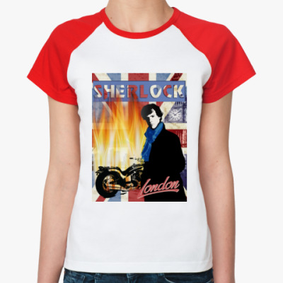 Женская футболка реглан Sherlock Holmes