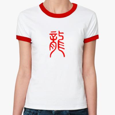 Женская футболка Ringer-T Дракон иероглиф