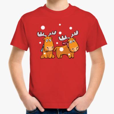 Детская футболка Олени с шарфами