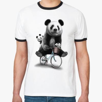 Футболка Ringer-T Панды на велосипеде