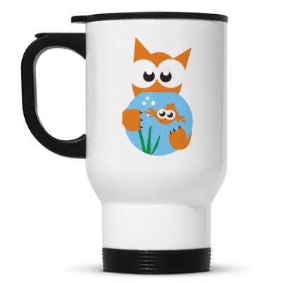 Кружка-термос Кот и рыбка