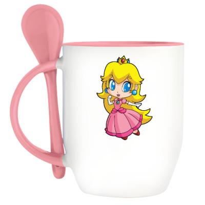 Кружка с ложкой Super Mario Princess