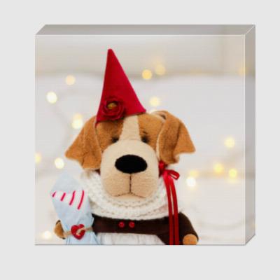 Холст Собачка с подарочной косточкой