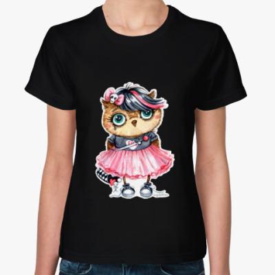Женская футболка Эмо-сова