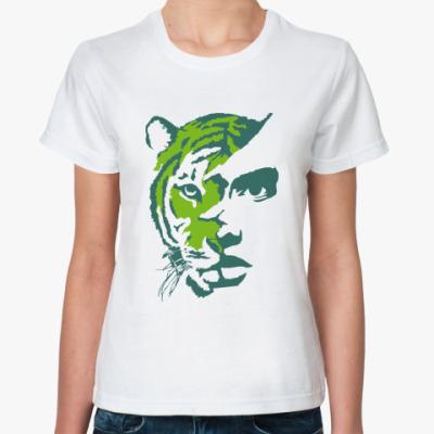 Классическая футболка Тигр зеленый