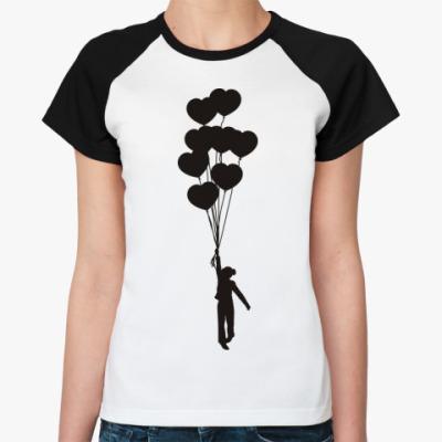 Женская футболка реглан Девочка с шариками