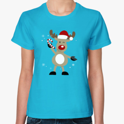 Женская футболка Олененок с конфетой