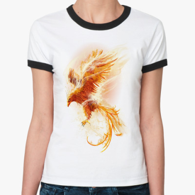 Женская футболка Ringer-T Птица Феникс Fenix bird