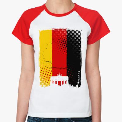 Женская футболка реглан Сердце Германии в одной палитре