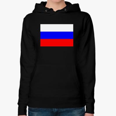 Женская толстовка худи Флаг России