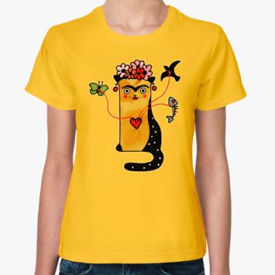 Женская футболка Кошка и сюрреализм