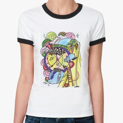 Женская футболка Ringer-T  TiK-TaK !