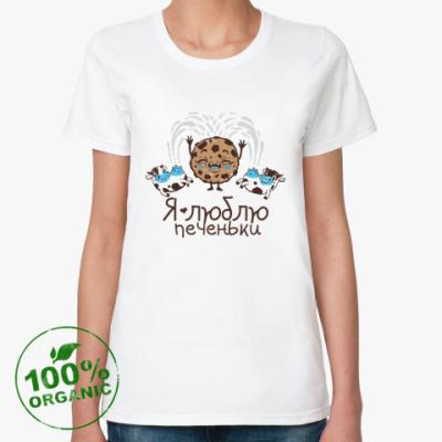 Женская футболка из органик-хлопка Я люблю печеньки!