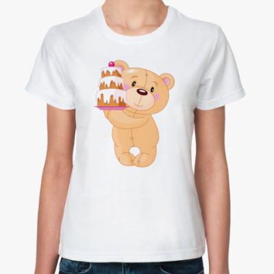 Классическая футболка Медвежонок с тортом