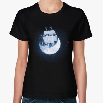Женская футболка Лунный кораблик