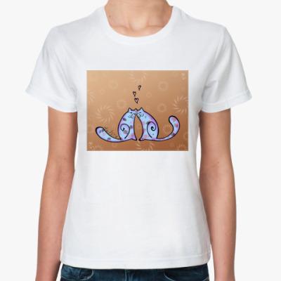 Классическая футболка  Влюблённые коты ж#2