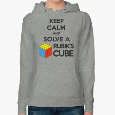 Женская толстовка худи Keep calm and Solve Rubiks Cube | Кубик Рубика