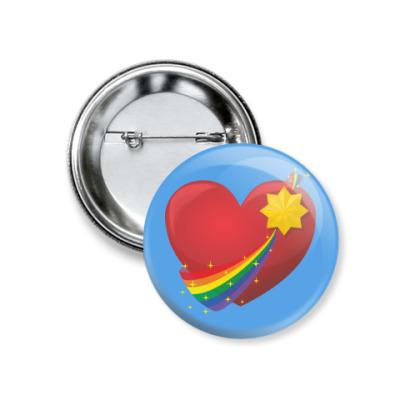 Значок 37мм ЛГБТ сердце