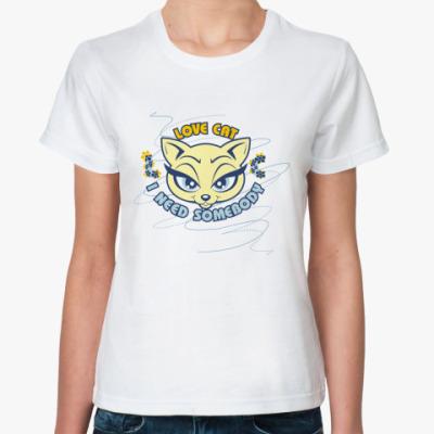 Классическая футболка Love Cat