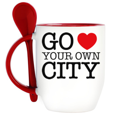 Кружка с ложкой Love your own city