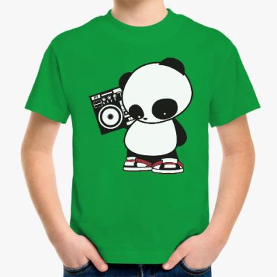 Детская футболка Панда с магнитофоном