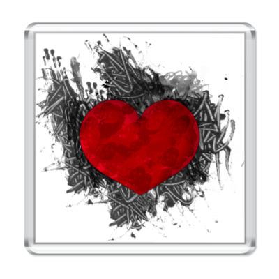Магнит Сердце в краске