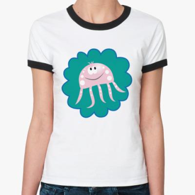 Женская футболка Ringer-T   Морская