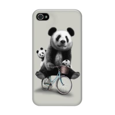 Чехол для iPhone 4/4s Панды на велосипеде